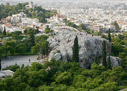 The Areopagus Amphitheater in Greece as viewed from the Acropolis.