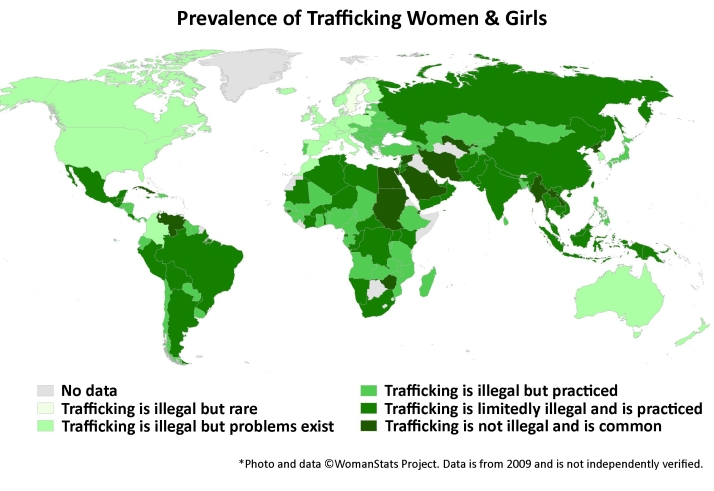 Map of trafficking of females globally.